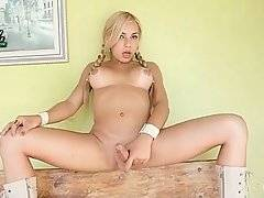 Fantastic Tranny Gives Hand To Her Thick Dick 1