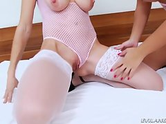 Hung-TS-Drills-Voluptuous-3-Hole-Slut