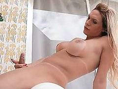 Sexy Breasted Tranny Is Fondling Herself 1